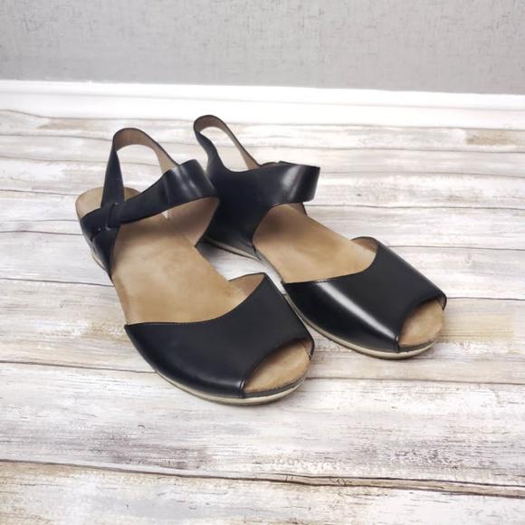3574db36b525 Dansko Shoes - Dansko Vera Black Burnished Leather Wedge Sandals